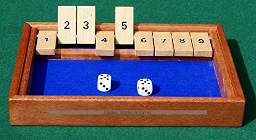 Masters Traditional Games Hand-Made Shut The Box - Mahogany Frame with Ash tabs