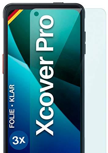 moex Klare Schutzfolie kompatibel mit Samsung Galaxy Xcover Pro - Bildschirmfolie kristallklar, HD Bildschirmschutz, dünne Kratzfeste Folie, 3X Stück