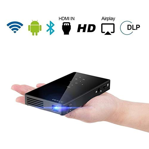ExquizOn DLP Smart Projector Android 7.0 1G RAM + 8G ROM Mini Portable Projector, Support WiFi USB HDMI Bluetooth TF, for Home Theater Business Meeting Traveling (P8I)