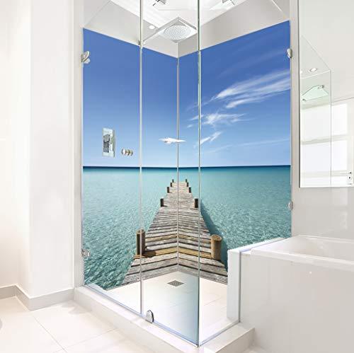 ORIGINAL PlateART Eck-Duschrückwand 2 x 90x200 cm, Wandverkleidung, Wandbild, Rückwand Alu OHNE FUGEN, Fliesenersatz, Steg-Malediven - Made in Germany