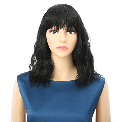 NAISIER Short Bob Natural Black Wig Pastel Wavy Wig With Air Bangs Women's Curly Wavy Shoulder Length Pastel Bob Synthetic Cosplay Wig for Girl Colorful Costume Wigs,12' Natural Black.