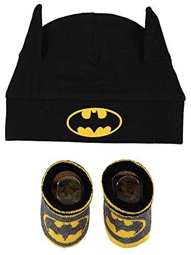 DC Comics Baby Boys - Juego de gorro y calcetines para bebé, Negro/Gris/Amarillo 1, 0-12 Meses