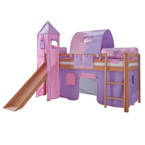 Relita Toby - Letto a soppalco in legno di faggio massiccio con scivolo, torre, tessuto viola/rosa viola/rosa