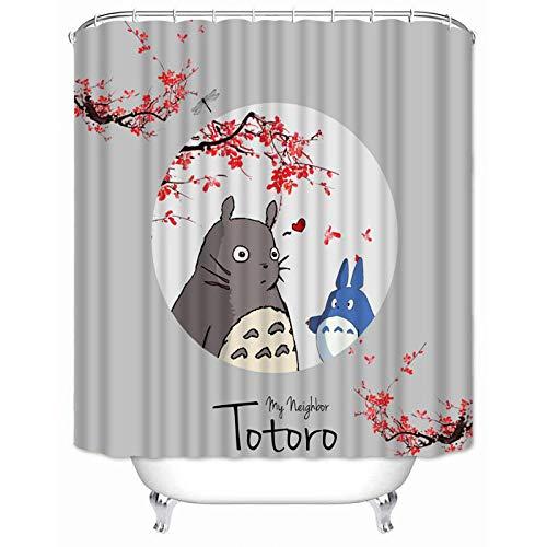Ayniss Badevorhang Moderne Badezimmer vorhänge Totoro Mehltauwiderstandsfähiger Hochleistungs,für Badezimmerdekor,wasserdichter Badvorhang Beschwertem Saum