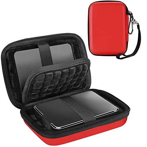 Procase Estuche Universal para 2 Discos Duros Externos 2,5', Funda de Viaje Antigolpes para Toshiba Canvio Basics/WD Elements/My Passport/Seagate Expansion/Backup Plus, SSD 2,5' 1TB 2T 4T -Rojo