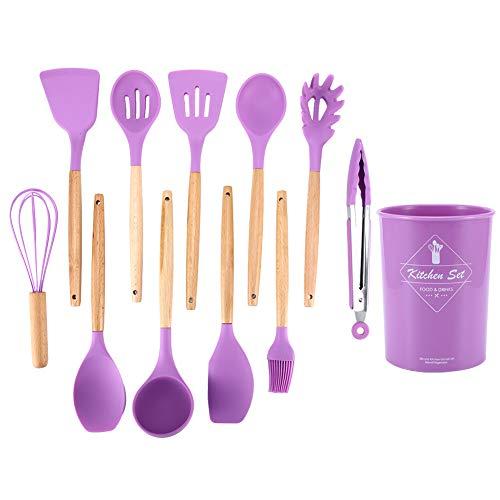 JJ. Accesorio de silicona Juego de 12 utensilios de cocina para el hogar, juego de utensilios de cocina, antiadherente, cucharas de cocina, color morado con caja de almacenamiento