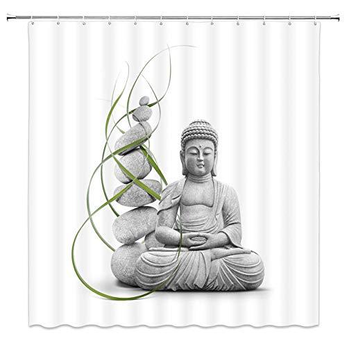 None brand Badezimmer Duschvorhänge Buddha Statue Bambus Bad Displaye Home Decor Polyester Stoff wasserdicht & schimmelfest mit 12 Haken-B150xH180cm