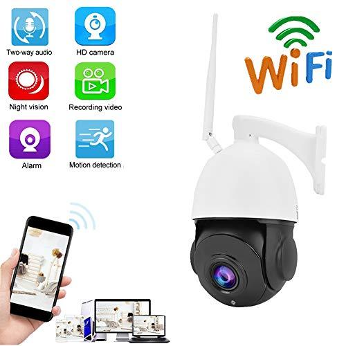 Kafuty Cámara Inalámbrica de Seguridad de 2MP 30X Zoom WiFi 1080 P HD Vigilancia de Visión Nocturna IR Rotación Horizontal 360 Grados para Seguridad en el Hogar(EU Enchufe)
