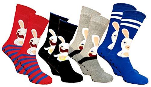Disney Socks And Underwear - Chaussettes homme Lapins Crétins en Coton -Assortiment modèles photos selon arrivages- Pack de 4 paires antidérapantes Abs 43/46