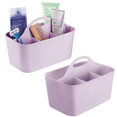 mDesign Plastic Portable Storage Organizer Caddy Tote - Divided Basket Bin with Handle for Bathroom, Dorm Room - Holds Hand Soap, Body Wash, Shampoo, Conditioner, Lotion - Small, 2 Pack - Purple
