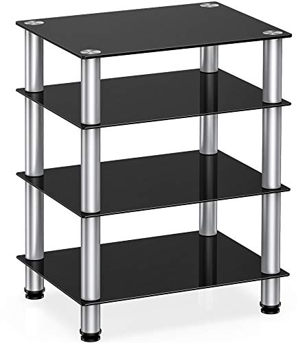 FITUEYES AV Component Media Stand Audio Rack 4-Tier Entertainment Shelves TV Stand for Video Components, Stereo Equipment, Gaming Consoles, Panda Silver Color