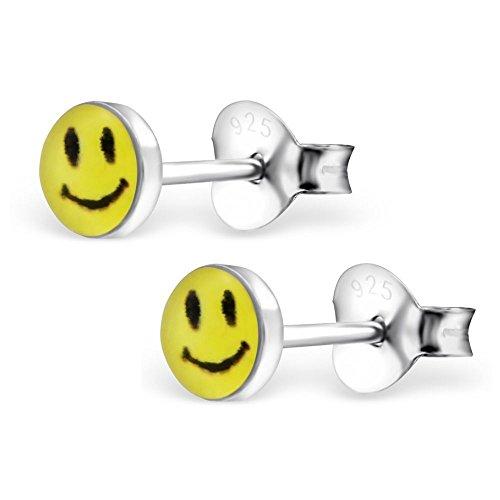Bungsa Smiley Kinder-Ohrstecker .925 ECHTSILBER 5mm gelb Emoji lachendes Gesicht Zunge lächeln (Ohrringe Echtschmuck Studs Ohrschmuck Jungen Mädchen)