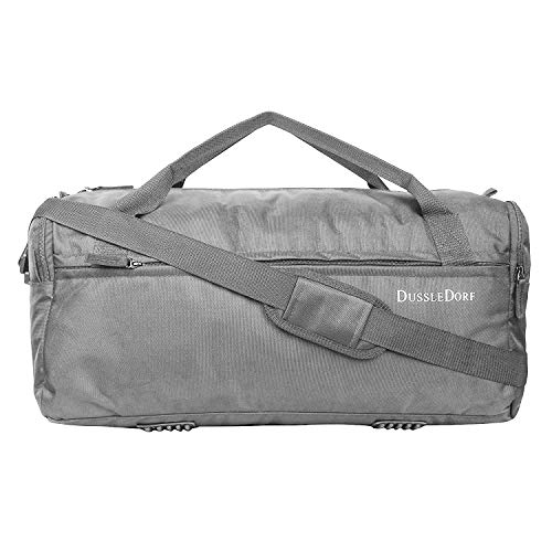 DUSSLE DORF Polyester 35 liters Water Resistant Heavy Duty Gym/Trekking/Travel/Sports Duffel Bag with Multi Pockets (Grey)