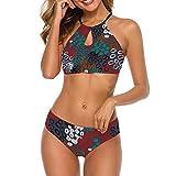 Women's Push-up Halter Bandage Bikini Swimsuits Swim Bottoms Personalized Cute Leopard M