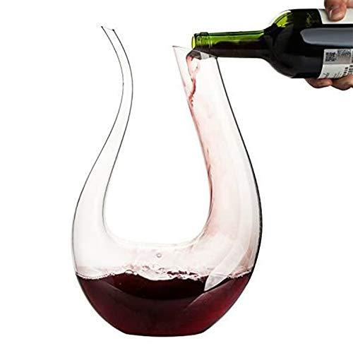 MMZB Decantador de Vino de Forma u Forma de Vino con Mano, Vidrio clásico, Vidrio sin Plomo, establo Seguro, Alta Transparencia, para Sala de Estar Familiar, 1500 ml
