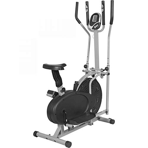 GORILLA SPORTS® Crosstrainer mit Trainingscomputer Grau – Ellipsentrainer bis 110 kg belastbar