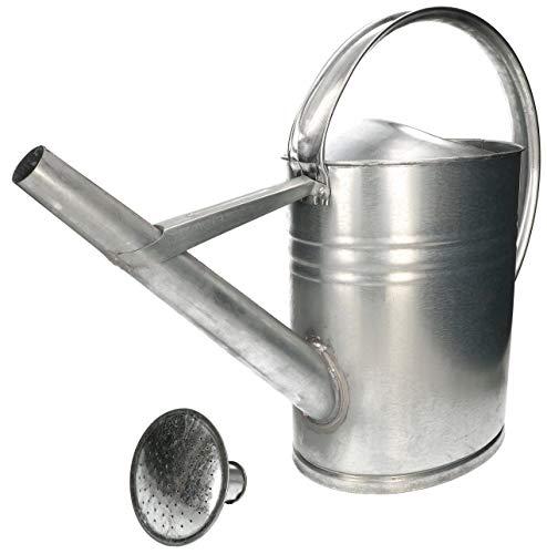 KOTARBAU® Regadera ovalada de zinc de 12 L para regar flores con alcachofa de riego