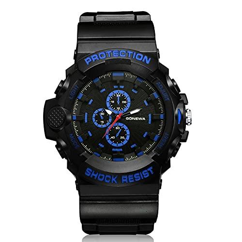 HHuin GON048Watch,Relojes deportivos de lujo para hombre, cronógrafo, reloj de pulsera de cuarzo analógico impermeable para hombre de acero