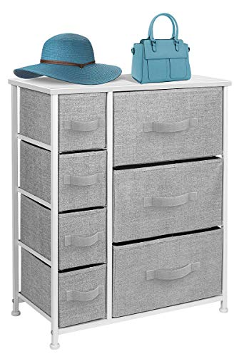 Sorbus Dresser with Drawers - Furniture Storage Tower Unit for Bedroom, Hallway, Closet, Office Organization - Steel Frame, Wood Top, Easy Pull Fabric Bins (White/Gray)