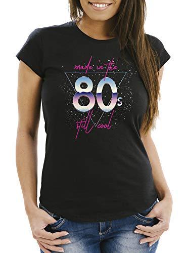 MoonWorks® Damen T-Shirt Geburtstag Made in The 80's Retro Eighties Achtziger Geschenk Fun-Shirt Slim Fit schwarz M