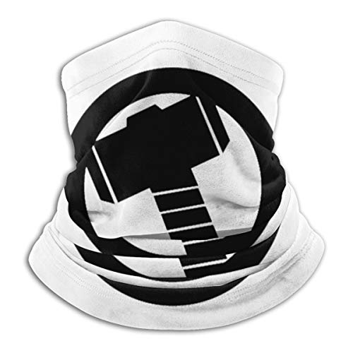 Thor Hammer Logo Neck Warmer Neck Gaiter Face Scarf Multifunctional Headband Head Wrap for Running Sports and Outdoors Black