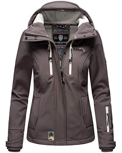 MARIKOO Damen Softshell Jacke Winterjacke wasserabweisend Outdoor B864 [B864-Kl.zicke-Grau-Gr.S]
