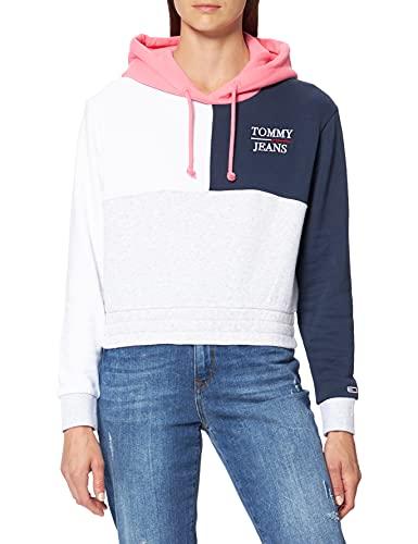 Tommy Jeans Tjw Crop Colorblock Logo Hoodie Sudadera con Capucha, Gris Plateado Htr/Multi, L para Mujer
