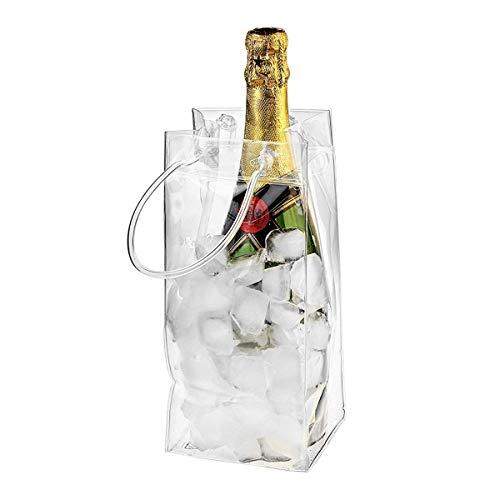 Nicoone Bolsa de Hielo a Prueba de Fugas de PVC Enfriador de Cubo de Hielo Portátil Transparente con Asa de Transporte para Vino Botella de Champán Vino Tinto