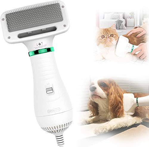 PETRIP Dog Hair Dryer Pet Dryer Professional Grooming Blower Dog Slicker Brush for Medium Pet Small Dog Cat (White, 2 in 1 Dryer)
