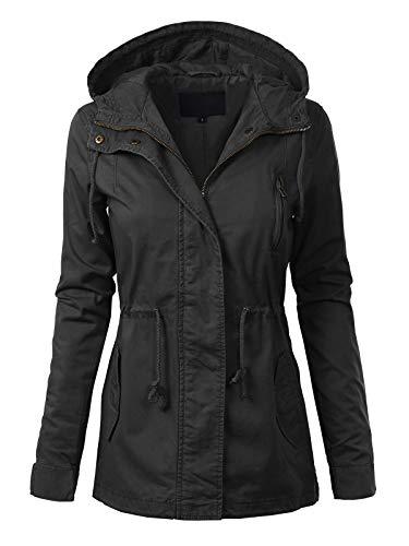 MixMatchy Women's Casual Lightweight Militray Safari Anorak Utility Hoodie Jacket Black 1XL