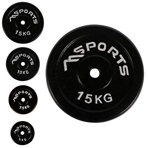 Coppia di dischi professionali per bilancieri e manubri, 100% ghisa, 5-30 kg, 2 x 15 kg – nero, allenamneto di forza