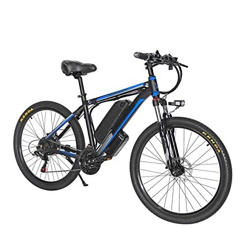 HMEI Bicicleta de montaña eléctrica de 26', Bicicleta eléctrica MTB de 1000 W para Hombres, batería eléctrica para Ciudad, Bicicleta híbrida para Nieve (Color : Azul, Number of speeds : 21)