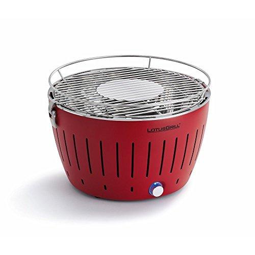 Lotus Grill Barbacoa sin humo con ventilador turbo para calor rápido en rojo ardiente (grande)