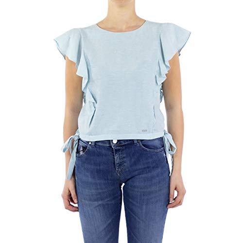 Armani Exchange Crop Ruffle Top Blusas, Azul Claro/Blanco, XL para Mujer
