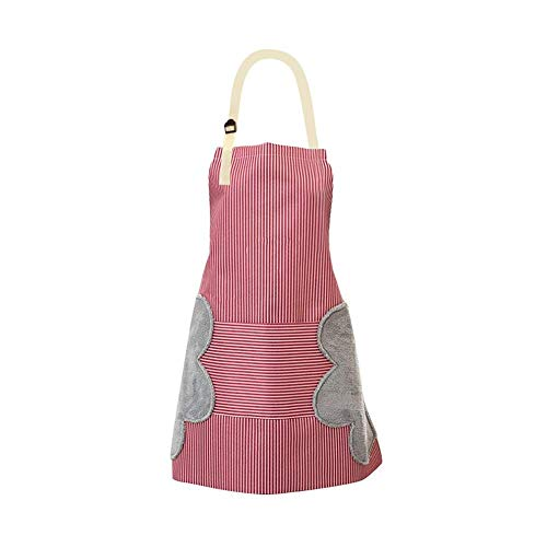 Grace life Adjustable Bib Apron with Pockets  2 Side Wipe Hands Coral Velvet Towels Stitched Pinstripe Waterproof Cooking Aprons Red