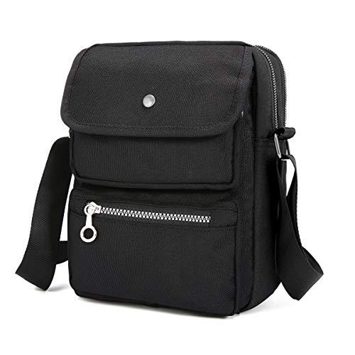 Black Crossbody Bags for Women JOSEKO Nylon Shoulder Bag Purse with Strap Travel Purses for Women Multi-Pocketed Messenger Bag Black 7.87''(L) x 2.76''(W) x 10.24''(H)