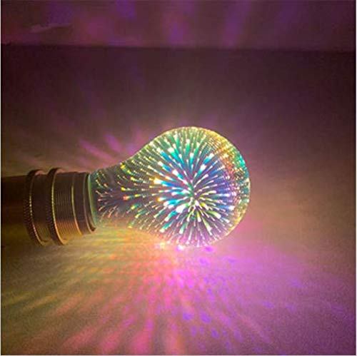 LED Light Bulb with 3D Fireworks Effect,4W LED Stereoscopic Colorful Bulb, E27 Novelty Decorative Light Bulb for Wedding Party Decorative Mood Lighting (A60 lamp)