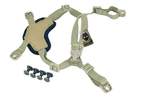 ATAIRSOFT Helmet General Suspension Lanyard with 4 Points Chin Strap with Bolts and Screws for Fast ACH MICH IBH Helmet DE