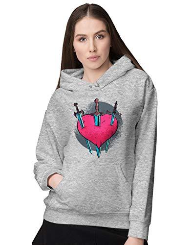 BLAK TEE Femme Cruel and Painful Love Heart Illustration Sweat a Capuche XL