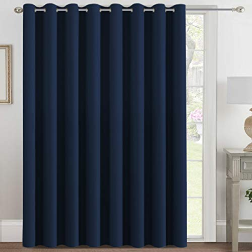 H.VERSAILTEX Blackout Patio Curtains 100 x 108 Inches for Sliding Door Extral Wide Blackout Curtain Panels Thermal Insulated Room Divider - Grommet Top, 9' Tall by 8.5' Wide - Navy Blue