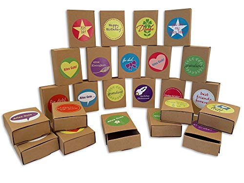 ewtshop® 24 Streichholzschachteln blanko aus Kraftpapier + 24 Sticker, Mini Geschenkschachteln, Adventskalenderboxen, Giveaways, Aufbewahrungsschachteln