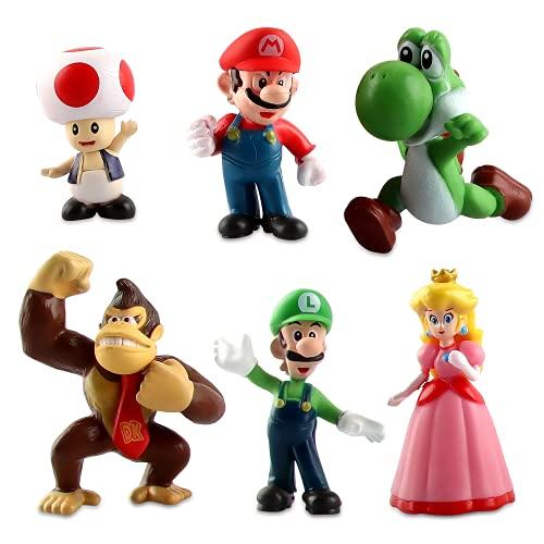 Super Mario Mini Figuren,Geburtstags Party liefert,Cupcake Figuren Cake Topper, Party Kuchen Dekoration Lieferungen, Kinder Baby Party Dekoration (6 stücke)