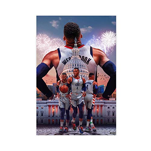 American Basketball Star Athlete Russell Westbrook Sports Poster 1 Canvas Poster Wall Art Decor Print Picture Paintings for Living Room Bedroom Decoration Unframe-style112×18inch(30×45cm)