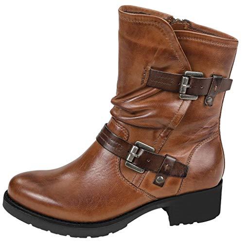 WUSIKY Stiefeletten Damen Bootsschuhe Boots Geschenk für Frauen Leder Freizeitschuh Schnallenriemen runde Form Cowboy Stiefeletten mit niedrigen Absätzen (Braun, 39.5 EU)