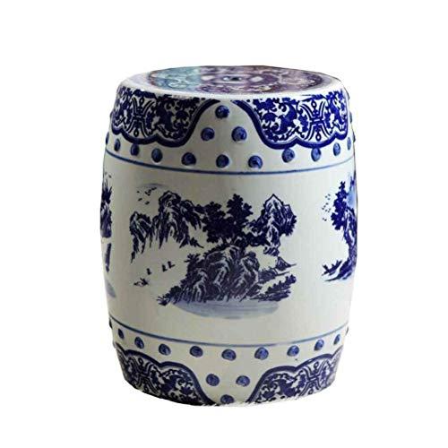 LQJYXD Schuhhocker Handbemalter Keramik-Trommelhocker Antiker blau-weißer Gartenhocker Keramikmöbel Balkon Innenhof Pavillon Sitzhocker
