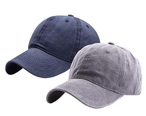 "INOGIH Toddlers Baseball Hat Boys, Kids Distressed-Washed Baseball Cap Cotton Hats for 2-8 Years (Navy+Grey 2 Pcs, 18.9""-20.5""/2-8Yeras Old)"