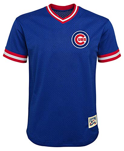 MLB Youth 8-20 Mesh Team Color Cooperstown V-Neck Jersey (X-Large 18/20, Chicago Cubs Blue)