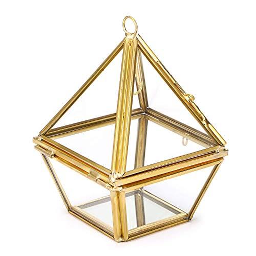 HEWEI Soporte de exhibición de Anillo de joyería Geométrico Prisma de Diamante Caja de joyería de Vidrio Soporte de exhibición Caja de Regalo Anillo Colgante Pendientes Tetraedro