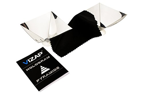 Vizap Set of 2 3D Smartphone Hologram Foil / Projector Pyramid with Unique 3D Effects Includes Free Cleaning Cloth