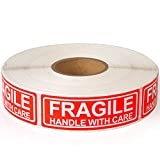 Fragile - 1'x3' Handle with Care Shipping Stickers, 1000 Labels Per Roll